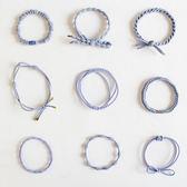 發圈韓國簡約清新甜美發飾頭飾扎頭發皮筋發繩頭繩9件套裝   初見居家