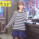 雪紡--青春活力圓領羅紋拼接雪紡百摺下擺橫條紋假兩件式休閒洋裝(黑.藍XL-5L)-A228眼圈熊中大尺碼