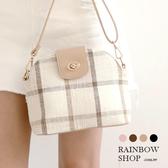 斜背包-奶茶歐蕾格紋斜背包-H-Rainbow【A17172868】