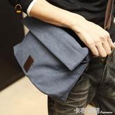 潮流新款帆布包男士韓版包包休閒包單肩包斜背跨包學生包背包潮男 卡布奇諾