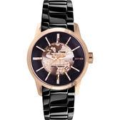 特價 RELAX TIME RT62系列 人動電能地球腕錶-玫塊金框x黑/45mm RT-62K-5
