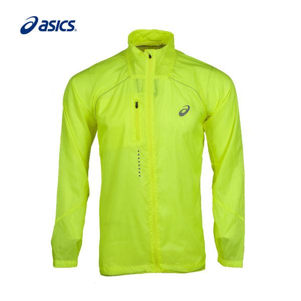 [陽光樂活]ASICS 亞瑟士 LITE-SHOW 男 慢跑外套 風衣 127827-0392 螢光黃(附收納袋)