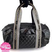 【奢華時尚】秒殺推薦!CHANEL炭黑色亮面菱格紋帆布手提肩背兩用小波士頓包(八八成新)#22632