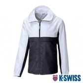 K-SWISS Contrast Track Jacket 防曬抗UV風衣外套-男-白/黑