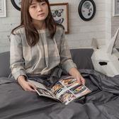 極,鐵灰  S3單人床包與雙人新式兩用被四件組  100%精梳棉  台灣製