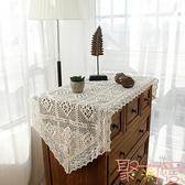 復古棉麻桌旗鏤空鉤針布藝蕾絲餐桌布茶幾布【聚可愛】
