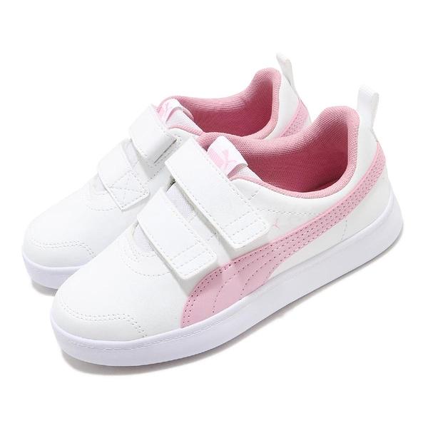 Puma 休閒鞋 Courtflex V2 V PS 白 粉紅 童鞋 中童鞋 魔鬼氈 基本款 運動鞋 【ACS】 37154311