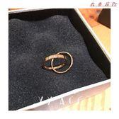 雙環字母鈦鋼鍍玫瑰金戒指