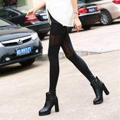 歐美網紗仿皮拼接打底褲透肉九分褲子外穿修身顯瘦小腳褲