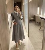 日韓流行女神穿搭6359復古小香風格紋撞色polo領泡泡袖連身裙TBF-27C胖胖唯依