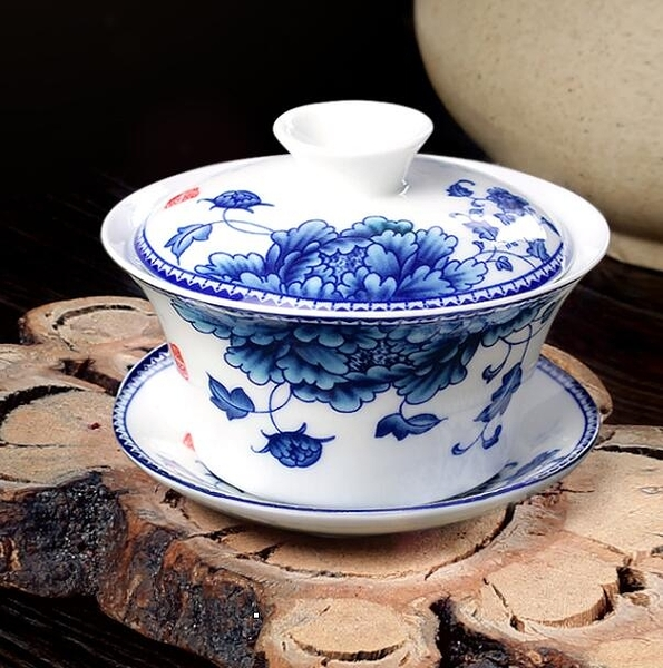茶杯 蓋碗茶杯茶碗大號茶具景德鎮青花瓷泡茶碗陶瓷白瓷功夫三才碗單個【快速出貨八折下殺】
