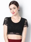 蕾絲上衣 半身半截網紗打底衫黑色性感內搭蕾絲抹胸百搭上衣T恤短袖薄夏女 歐歐