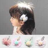 布藝紗球蝴蝶結髮夾 兒童髮飾 頭髮造型用品 髮夾