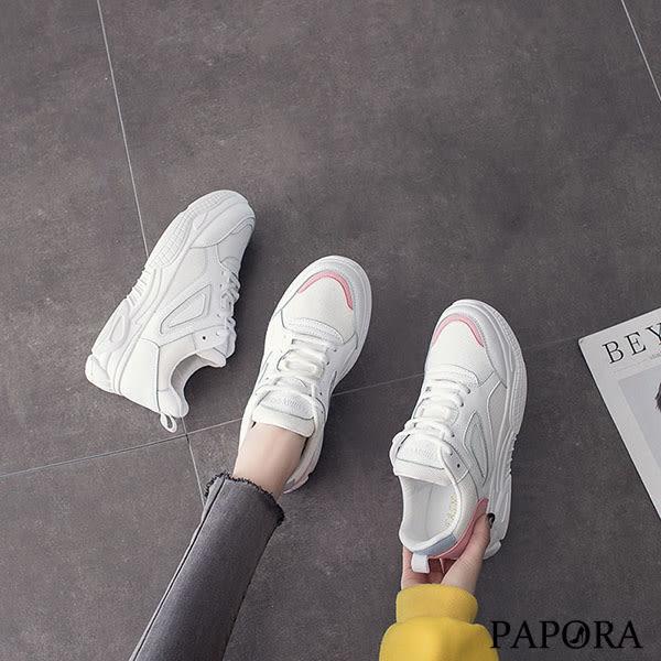 PAPORA綁帶休閒厚底老爹布鞋KE008白粉/白