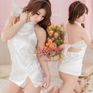 中式情趣睡衣 情趣用品 春情嫵媚!緞面美背印花旗袍裝﹝白﹞
