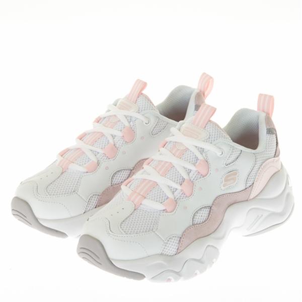 SKECHERS D'LITES 3.0 女款白粉厚底休閒鞋-NO.88888210WLPK