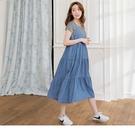 《MA0303》高含棉大V丹寧背心多層次蛋糕裙/孕婦洋裝 OrangeBear