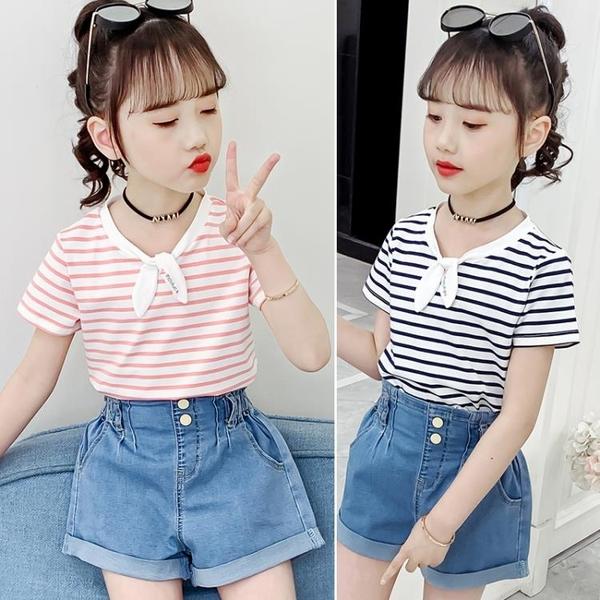女童洋氣T恤短袖2021年夏季半袖夏裝寬鬆韓版兒童中大童上衣夏天 茱莉亞