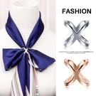 簡約X型絲巾扣環百搭兩用高檔優雅三環扣
