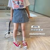 女童短裙 滿印牛仔裙2021夏季新款中大童兒童A字半身裙洋氣短裙子【快速出貨】