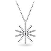 925純銀 日太陽 天然白水晶 鎖骨項鍊-銀 防抗過敏 不退色