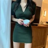 針織洋裝 緊身連身裙針織polo領休閒短裙法式顯瘦氣質包臀裙子女夏-Ballet朵朵