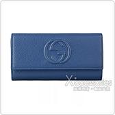 GUCCI SOHO系列雙G LOGO牛皮12卡扣式長夾(海洋藍)