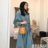 秋季仙女超仙森系收腰顯瘦法式設計感小眾桔梗藍色洋裝子女 聖誕節全館免運