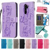 小米 紅米Note8 Pro 貓咪老虎皮套 手機皮套 掀蓋殼 插卡 支架 可掛繩 磁扣
