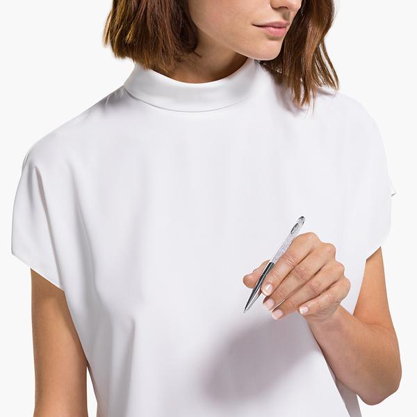 施華洛世奇 Crystalline Nova 鍍鉻色白水晶圓珠筆