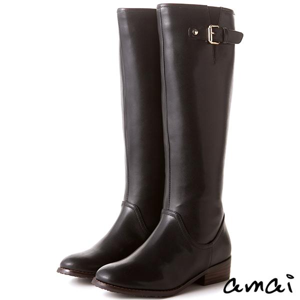 amai皮帶扣飾點綴質感長靴 黑