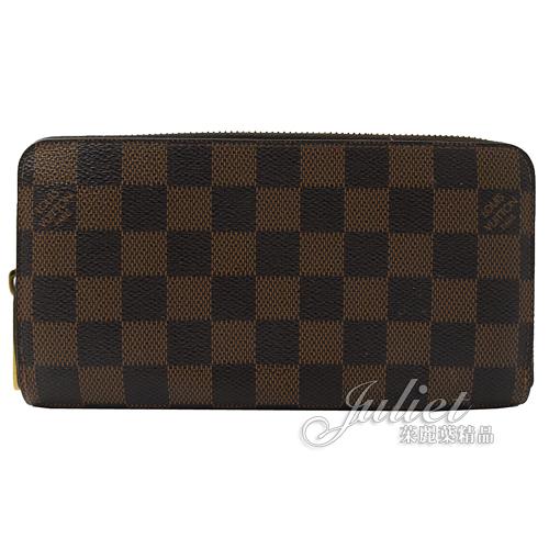 茱麗葉精品 二手精品【8.5成新】Louis Vuitton N60015 ZIPPY 棋盤格紋拉鍊長夾