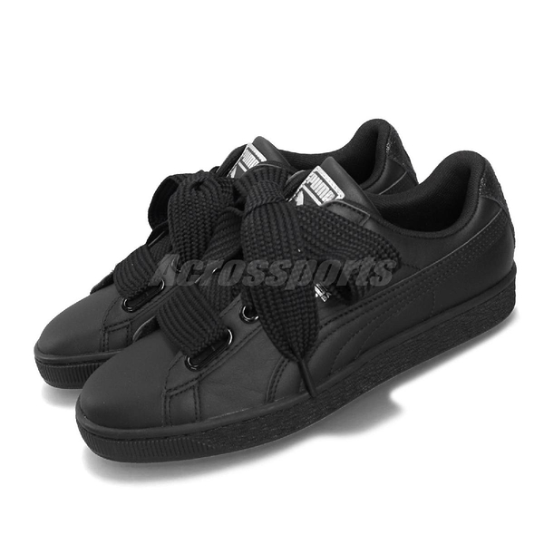 Puma 休閒鞋 Basket Heart Bio Hack Wns 黑 銀 女鞋 緞帶鞋 大蝴蝶結 【PUMP306】 36922303