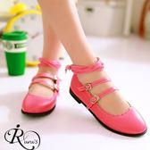 韓系唯美線條雙扣環波浪花邊設計平底包鞋/35-39碼/4色 (RX0101-A07) iRurus 路絲時尚