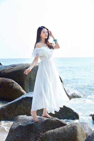 工廠直發不退換波西米亞洋裝8718#()度假抹胸雪紡連衣裙一字領露肩白色長裙海灘裙(NE302)