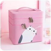 雙層化妝包大容量便攜少女心ins風超火收納盒品箱手提可愛日系小