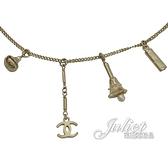 CHANEL 水鑽珍珠墜飾雙C LOGO長項鍊.金 全新 現貨【茱麗葉精品】