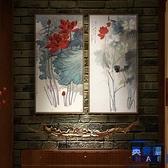 豎版荷花圖裝飾壁畫客廳掛畫禪意水墨畫玄關壁畫【英賽德3C數碼館】