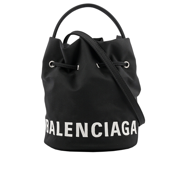 【BALENCIAGA】Black XS Wheel Bucket 尼龍手提/斜背水桶包(黑色) 619458 H852N 1000