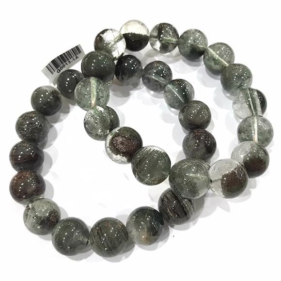 『晶鑽水晶』天然綠幽靈手鍊 約12.5-13mm 圓珠 彩幽 招財 事業財 招貴人 男女皆可配戴 送禮自用