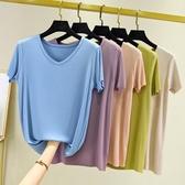 2020年夏季新款冰絲短袖T恤女紫色v領針織衫大碼寬鬆薄款白色上衣快速出貨