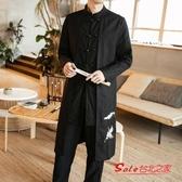 唐裝 中國風男裝外套棉麻古裝道袍長衫青年唐裝潮牌復古風漢服中式禪服T 4色