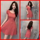 洋裝 韓系春夏修身顯瘦高腰大擺短袖性感氣...