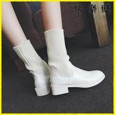 【快樂購】襪靴 英倫風粗跟百搭中筒襪子鞋彈力靴
