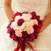 新娘手捧花結婚新款 仿真韓式婚禮玫瑰花束影樓拍攝道具婚慶用品