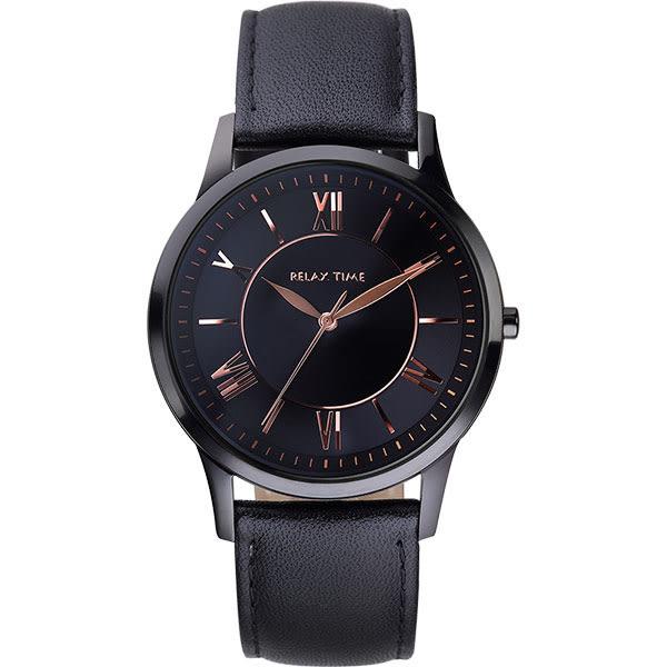 Relax Time RT58 經典學院風格腕錶-黑x玫瑰金時標/36mm RT-58-9L