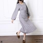 東京著衣-PrivateBeach-圓領綁帶格紋長袖洋裝(5190011)
