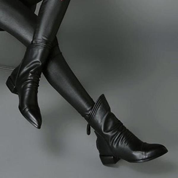 2020新款馬丁靴女百搭春秋季倒靴大碼單靴平底低跟後拉錬粗跟短靴 依凡卡時尚