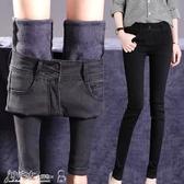 加絨牛仔褲 黑色高腰加絨加厚牛仔褲女冬款顯瘦小腳緊身韓版彈力褲子 小宅女