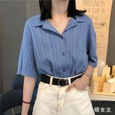 雪紡襯衫 設計感短袖襯衫女2019夏季新款韓版chic心機寬鬆復古上衣襯衣潮 HT1867